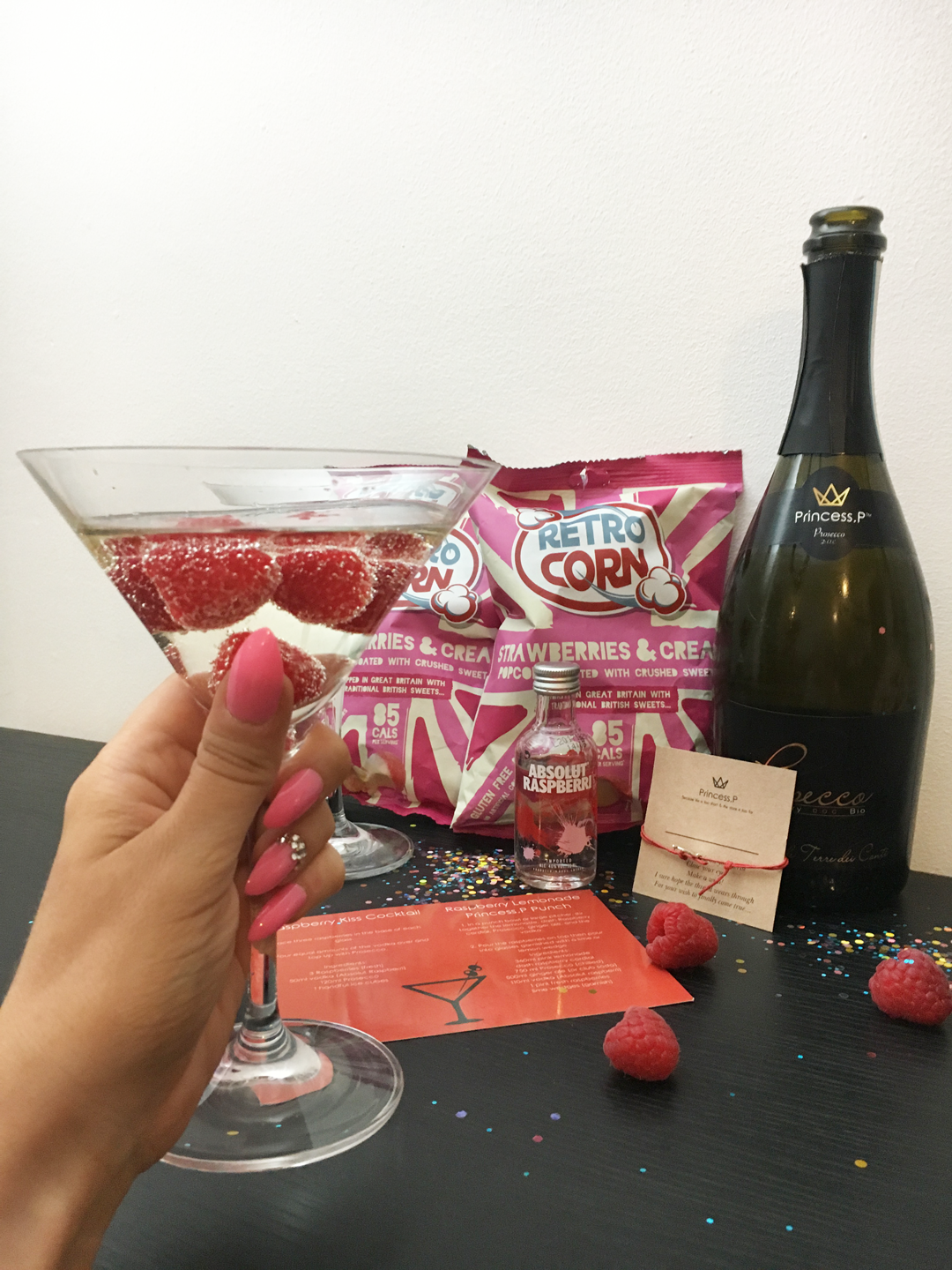Raspberry Kiss Cocktail - Princess P Prosecco Subscription Box - Miss Boux