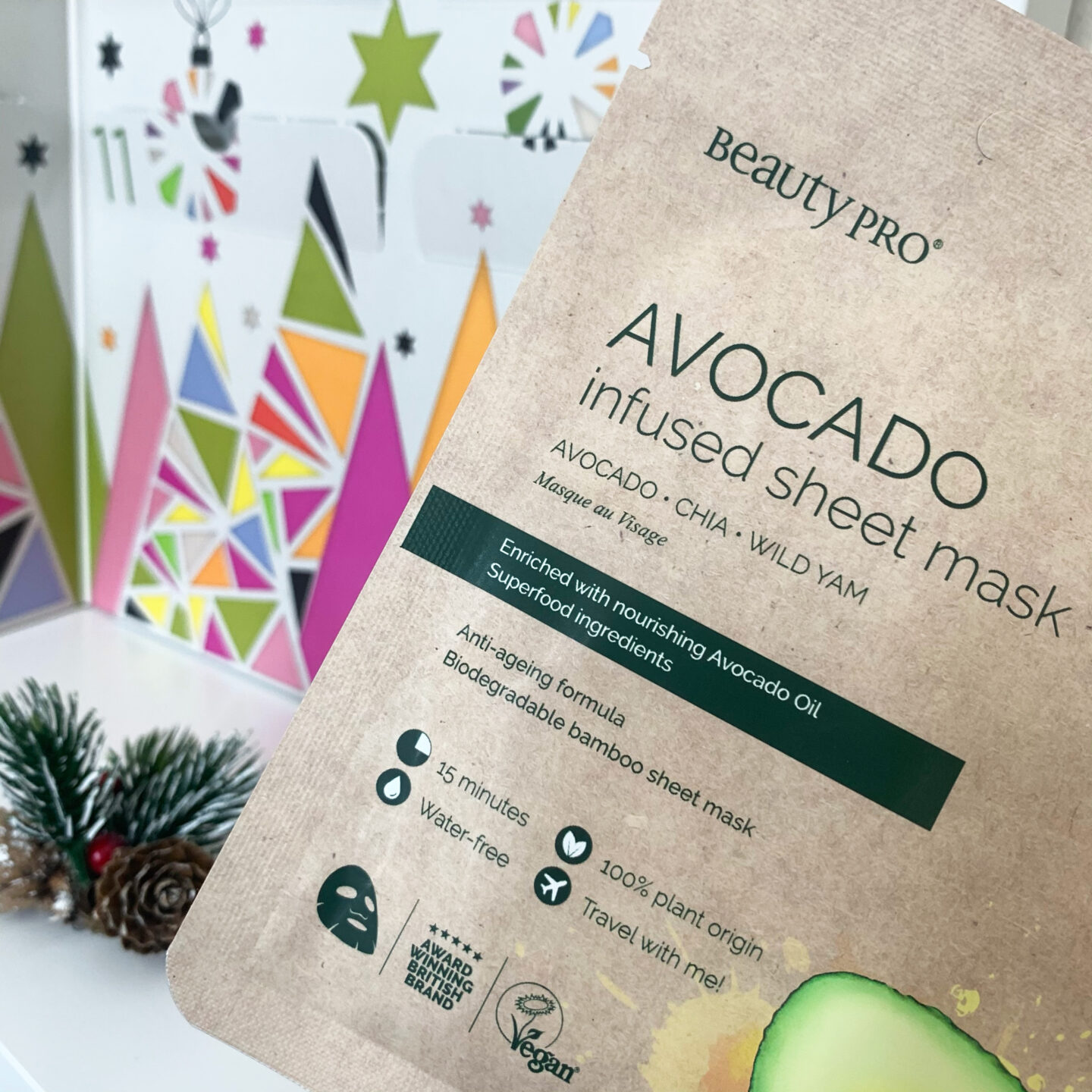 Avocado Infused Sheet Mask  Beauty Pro 12 Days of Christmask Advent Calendar 2020 - Miss Boux